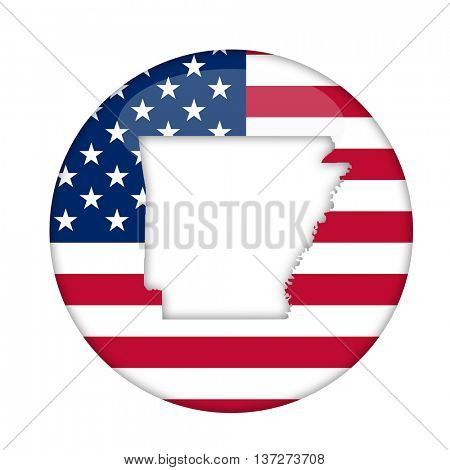 Arkansas state of America badge isolated on a white background.