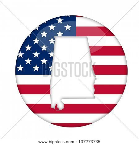 Alabama state of America badge isolated on a white background.
