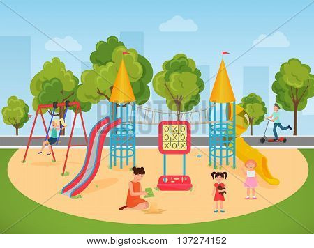 Kids children playing in the playground. Vector illustration