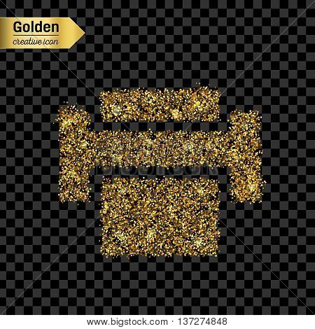 Gold glitter vector icon of printer isolated on background. Art creative concept illustration for web, glow light confetti, bright sequins, sparkle tinsel, abstract bling, shimmer dust, foil.