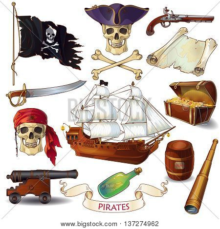 Pirates cartoon icons set with jolly roger chest of treasure sailboat letter in bottle isolated vector illustration