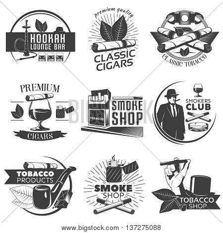 Smoking tobacco label set with descriptions of hookah lounge bar classic cigars classic tobacco smoke shop vector illustration