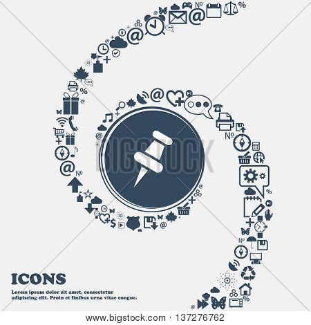 Push Pin Icon In The Center. Around The Many Beautiful Symbols Twisted In A Spiral. You Can Use Each
