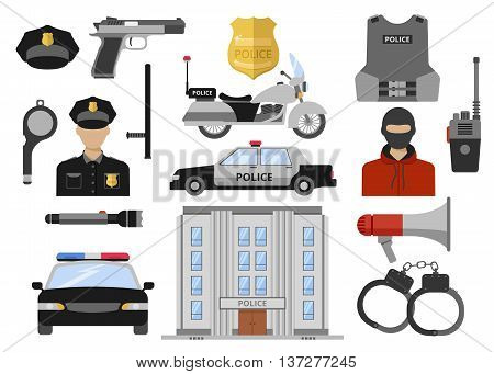 Police decorative flat icons set with building car motorcycle officer weapon handcuffs criminal vest isolated vector illustration