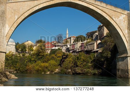 A view through the famous Old Bridge in Mostar