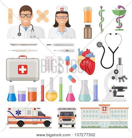 Flat isolated and colored medicine icon set with employees of medical institutions and their tools necessary to work and caring for people with vector illustration