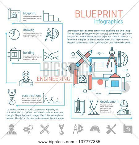 Blueprint and engineering linear infographics with drafts and drawing tools design text diagrams graphs vector illustration