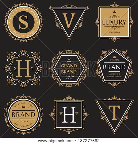 Set or collection of ornate or vignette brand or product vintage banner or retro logo, old badge that guarantees quality, sticker with ribbon for label and crown above