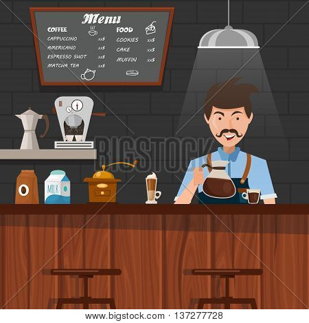 Barista at work design with mustached man pouring coffee in cup behind wooden bar counter vector illustration