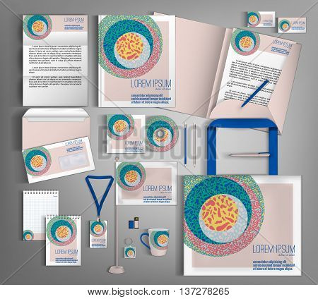 Trendy geometric corporate identity template design with retro  geometric elements. Modern abstract business set stationery in typographic style, brochure, card, letterhead, catalog, pennants. Suitable for brand advertising