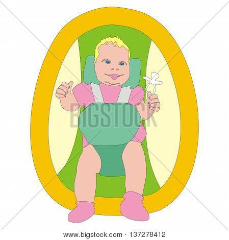 Illustration funny a newborn girl in a cradle isolated on white background