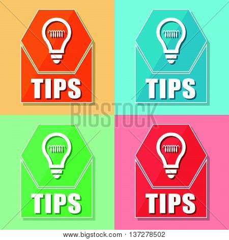 tips and bulb symbol, four colors web icons, flat design, business support concept, vector