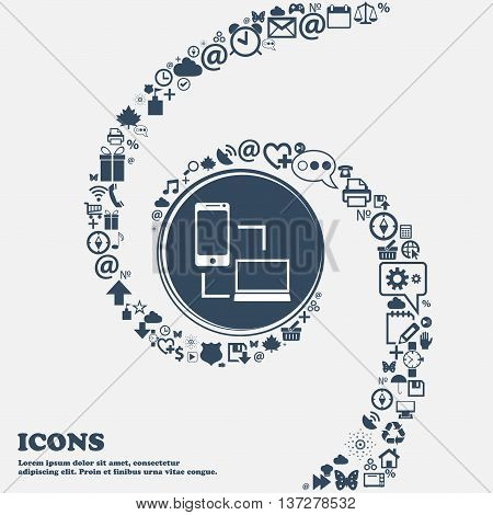Synchronization Sign Icon. Communicators Sync Symbol. Data Exchange In The Center. Around The Many B