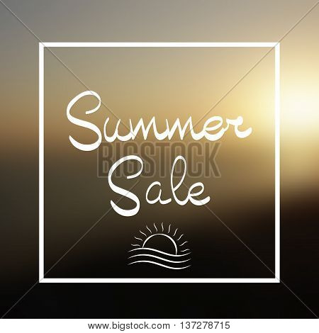 Summer Sale Lettering and Logo Sun in Frame on the Vector Background Sunset on the Beach