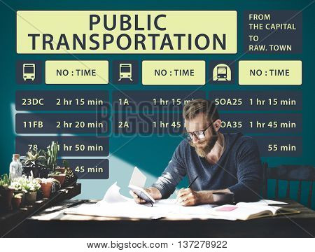 Bus Route Express Terminal Schedule Concept