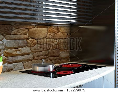 3D-rendering of a kitchen in a country house
