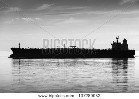 Big Tanker Ship Goes On Still Sea