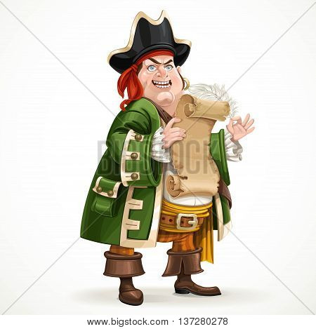 Cute old pirate wearing a camisole holding a shabby parchment and feather standing on a white background