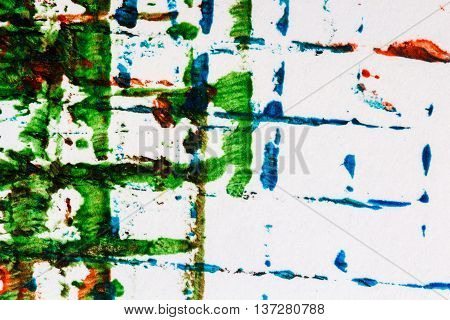 Closeup view of abstract hand painted mainly green acrylic art background on paper texture. Fragment of artwork