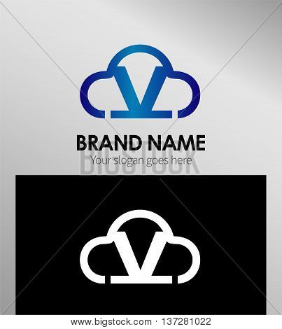 Cloud stylish logo and V icons template design vector