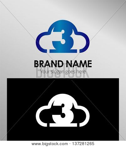 Symbol Number three 3 logo symbol design, vector