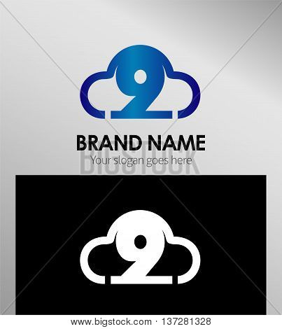 Symbol Number nine 9 logo icon template
