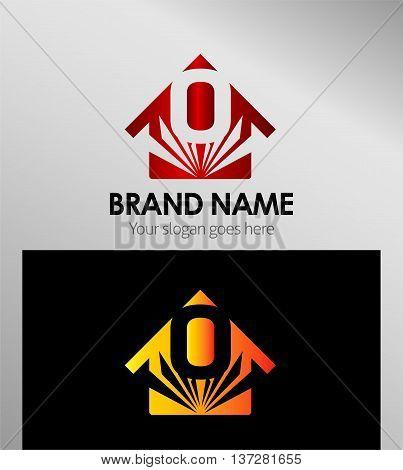 House icon, logo O letter template design vector