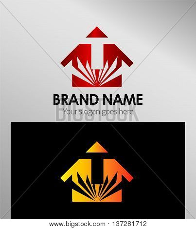 House icon, logo T letter template design vector