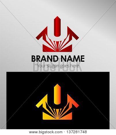 House icon, logo U letter template design vector