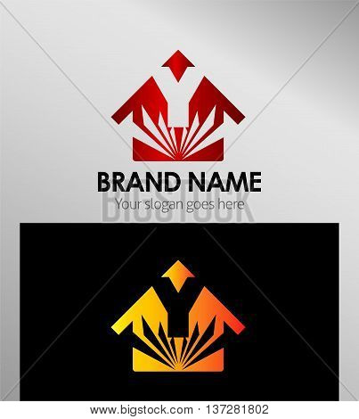 House icon, logo Y letter template design vector
