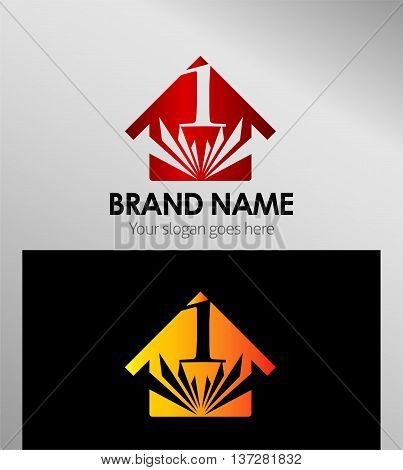 House icon, logo 1 number template design vector