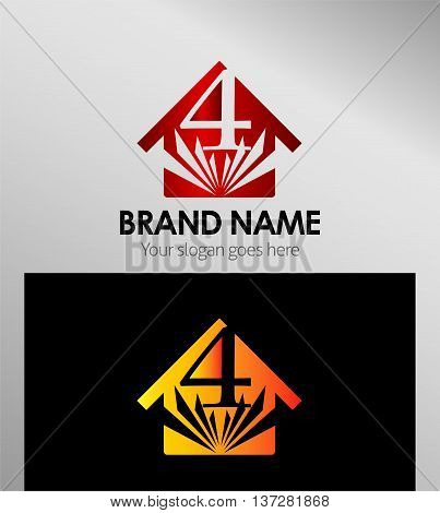 House icon, logo 4 number template design vector