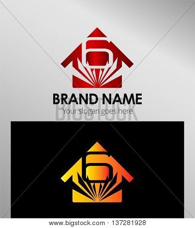 House icon, logo 6 number template design vector