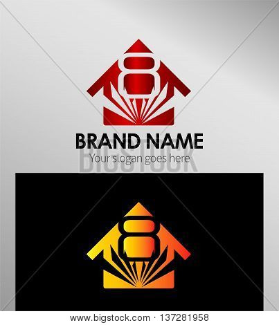 House icon, logo 8 number template design vector