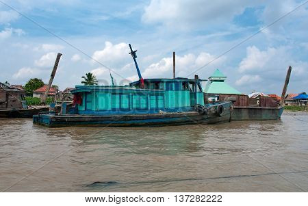 Boat On Musi River, Palembang, Southern Sumatra, Indonesia.