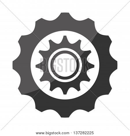 Gear, cog or wheel with black and white colors, industry and machinery theme design.
