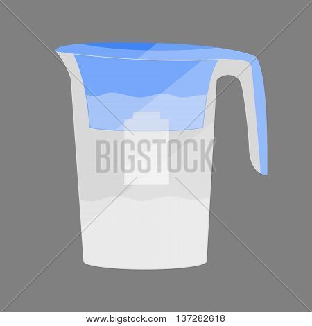 Water jug with a filter. Concept illustration for design.