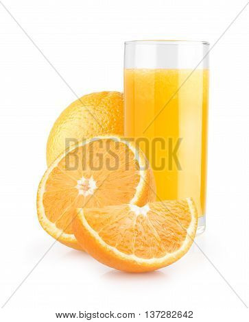 Isolated orange juice with slices of oranges on white background. 100 percent fresh and organic. Sweet juicy cocktail in glass. Natural antioxidant.