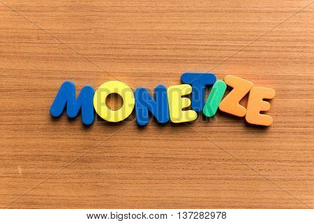 Monetize Colorful Word