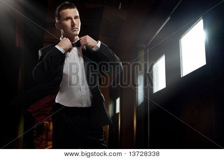 Elegant young  man walking