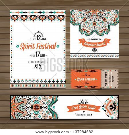 Set of boho colorful flyers. Vector decorative ethnic greeting card or invitation design background