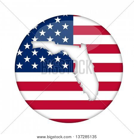 Florida state of America badge isolated on a white background.