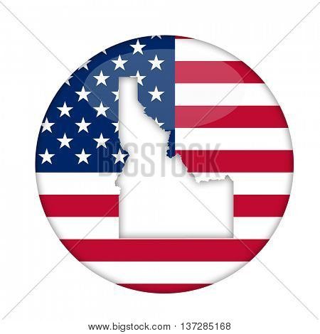 Idaho state of America badge isolated on a white background.