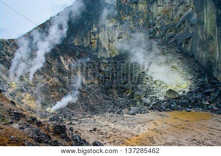 Sibayak volcano at  Northern Sumatra in  Indonesia
