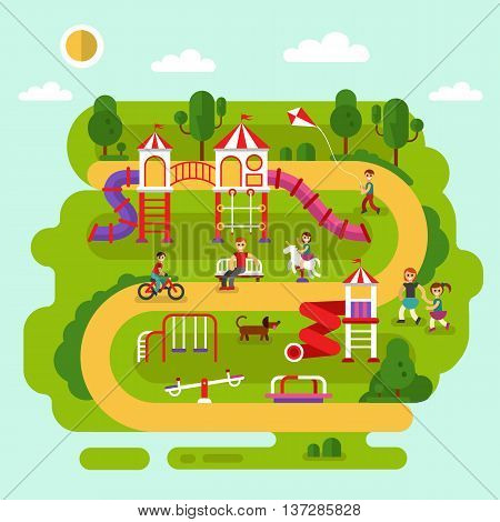Flat design vector summer landscape illustration of park with kids playground and equipment with swings, slides and tube, carousel. Cyclist, boy with kite, bench. Amusement park for children.