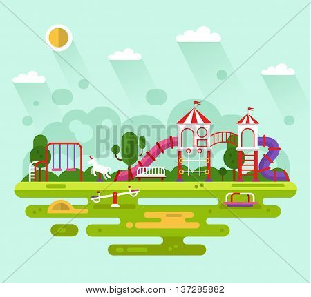 Flat design vector summer landscape illustration of park with kids playground and equipment with swings, slides and tube, carousel and other infographics elements. Amusement park for children.