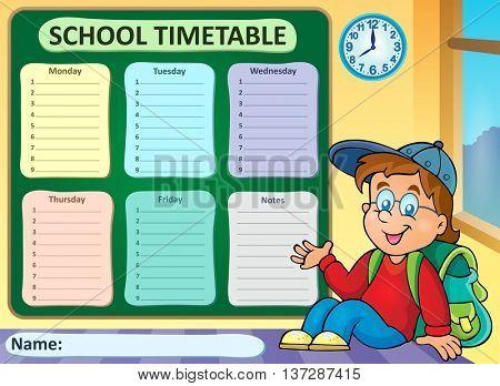 Weekly school timetable theme 6 - eps10 vector illustration.