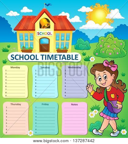 Weekly school timetable topic 3 - eps10 vector illustration.