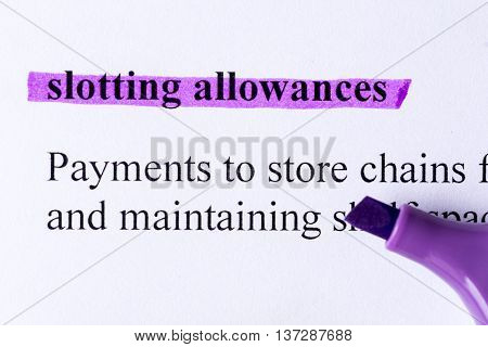 Slotting Allowances Word Highlighted