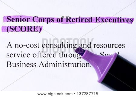 Senior Corps Of Retired Executives Word Highlighted